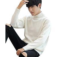 Byqny Hombre Grueso Cálido Camisa Inferior Casual Suéter de Punto Medio Cuello Alto Sweater Manga Larga