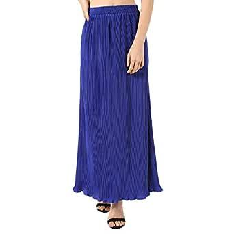 PepTrends Women's Crepe Pleated Maxi Skirt