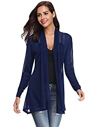f06dcd134c1870 Abollria Waterfall Cardigan for Women Summer Lightweight Long Sleeve Open  Front Cardigans