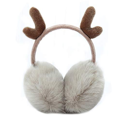 Faltbare Winter Ohr Warmers Faux Pelz Stirnband Ohrenschützer Schöne Geweih Haar Dekor Tannen Weihnachten Khaki