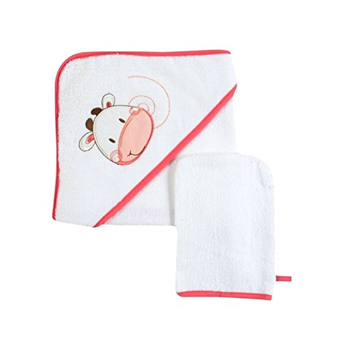 BARBACADO Sortie de bain et gant bébé, sortie de bain naissance, Cape de bain (Vache),cadeau naissance