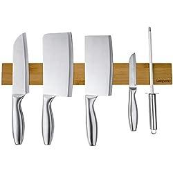 Porte Couteau Bambou BelleJoomu,Barre À Couteaux Aimanté Bois Cuisine De 40 CM,Couteau Porte Support Magnétique Pour Couteaux Ustensiles En Métal