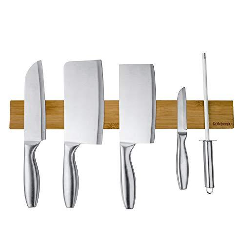 BelleJoomu Magnet Messerleiste Bambus, Magnetleiste Messer Holz Messerhalter Für Die Lagerung Aller Arten Von Gegenständen Aus Metall  Für Einfache Montage (40CM) (Magnet Messer Holz)