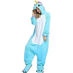 Unicornio Pijamas Cosplay Unicorn Disfraces Animales Franela Monos Unisex-adulto ropa de dormir Disfraces de fiesta (M, Azul)