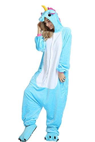 Unicornio Pijamas Cosplay Unicorn Disfraces Animales Franela Monos Unisex-adulto ropa de dormir Disfraces de fiesta (L, Azul)