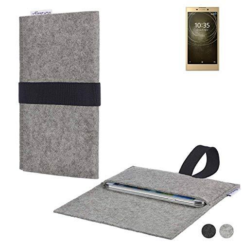 flat.design Handy Hülle Aveiro für Sony Xperia L2 Dual-SIM passgenau Handytasche Filz Tasche Etui Case fair schwarz hellgrau
