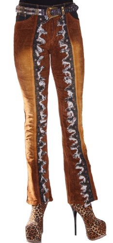 69fashion Cord Hose mit Fransen und Jeans Aufsätzen Five Pocket Stretch braun blau 33413, Gr. L