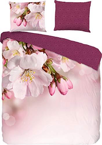 Good Morning! Wendebettwäsche Mila Renforcé weinrot-rosé Größe 135x200 cm (80x80 cm)
