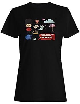 Nueva Hora Del Té De Londres Divertida camiseta de las mujeres m477f