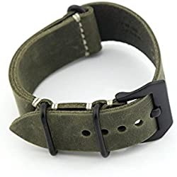 Owfeel Dark-green Leather Replacement Watch Band Strap Belt 22mm