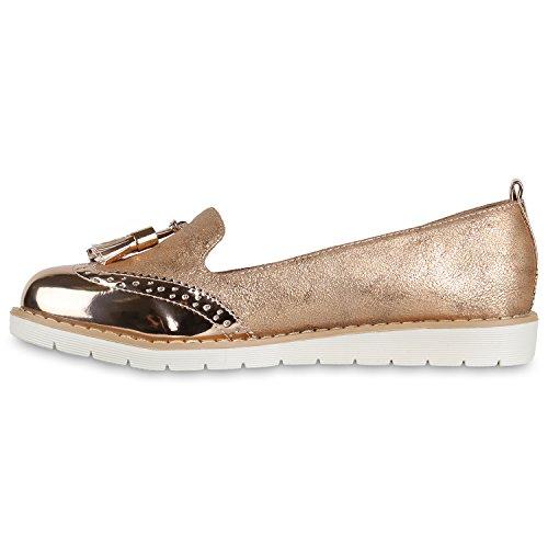 Damen Slipper Lack | Plateau Loafers | Metallic Schuhe Profilsohle | Loafer Flats Glitzer | Slippers Quasten Lochung Rose Gold
