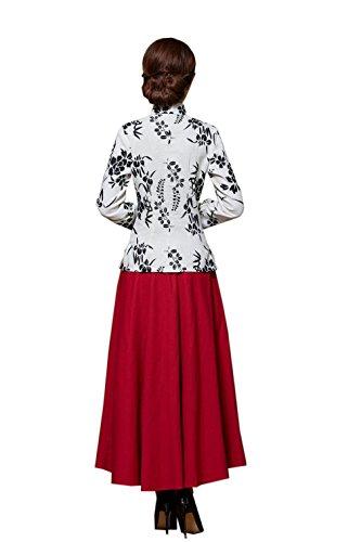 ACVIP Femme Chic Veste de Tang Blouse avec Manche Longue Motif Fleur en Coton de Chanvre,10 Couleurs F