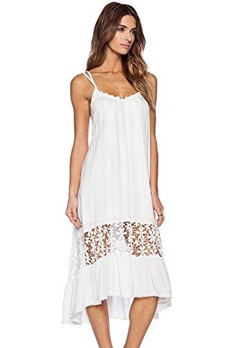 kingfield Blanc Long Ourlet à bain jupe Midi Jersey femmes robe décontractée Blanc - Blanc