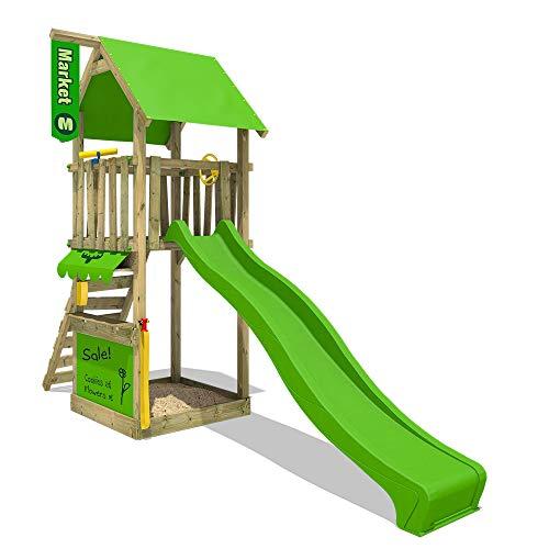 FATMOOSE Spielturm MagicMarket Master XXL Kletterturm Spielhaus mit Sandkasten, Rutsche und Kletterleiter