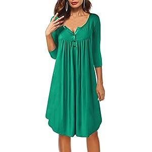 Providethebest Frauen-Mädchen-Front-Button O-Ansatz 3/4 Hülsen-Loses Sommer-Kleid Knielangen Kleid