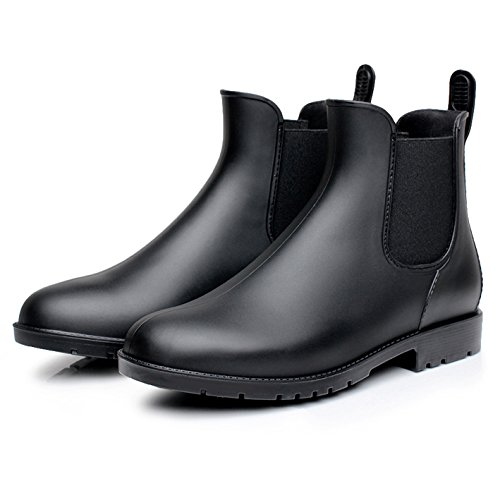Zkyo Gummistiefel Damen Kurzschaft Schwarz Regenstiefel mit Blockabsatz Frauen Chelsea Boots Rutschfeste Stiefeletten Größe 42