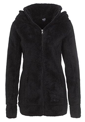 Sublevel Damen Teddy Fleece Mantel | Kuscheliger Fleecemantel mit hohem Kragen erhältlich in grau & schwarz black XL