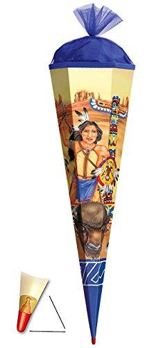 Preisvergleich Produktbild Schultüte - Indianer - 100 cm - mit Holzspitze / Tüllabschluß - Zuckertüte Roth - für Mädchen & Jungen - Western Indianerfedern Cowboy Häuptling