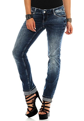 M.O.D Damen Straight Leg Jeans Alice Stretch niedriger Hüftsitz maryland blue 25/30 (Straight Denim Stretch Leg Jeans)