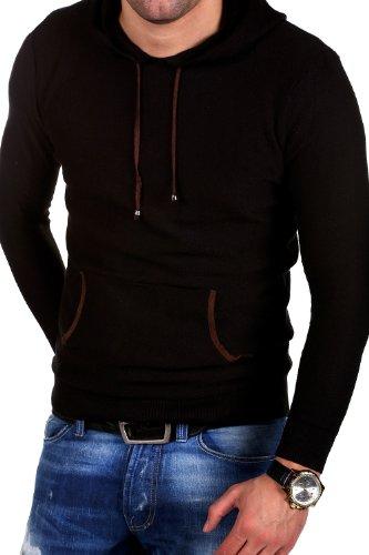 Carisma Feinstrick Hoodie Kontrast Pullover 7134 Schwarz