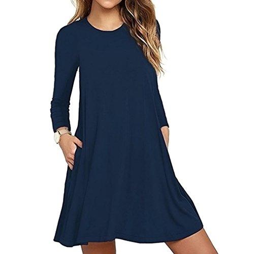 Damen Nachthemden Frauen Langarm Tasche beiläufige lose Kleid Nachtwäsche Nachthemden (XL/42, Marine)