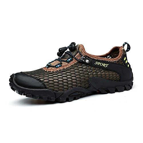 HILOTU Easy Slip On/Off Schuhe für Herren Flache Ferse Schnüren Mesh Stoff Vamp Outdoor Sportschuhe (Color : Braun, Größe : 42 EU) Top 10 Herren Schuhe