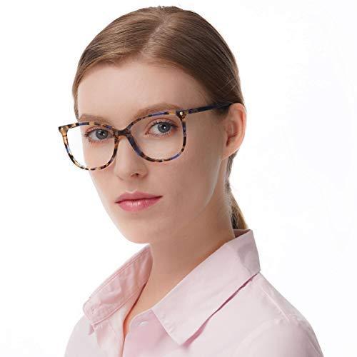 FERAVIA Oversize Optical Eyeglasses Non-prescription acetate Frame with Clear Lenses for Women (Demi-Blue)