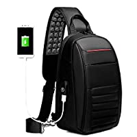 RFSAZ backpack Multifunction Shoulder Bag Men Business Crossbody Bags USB Charging Design Chest Bag Waterproof Messenger Bag Male