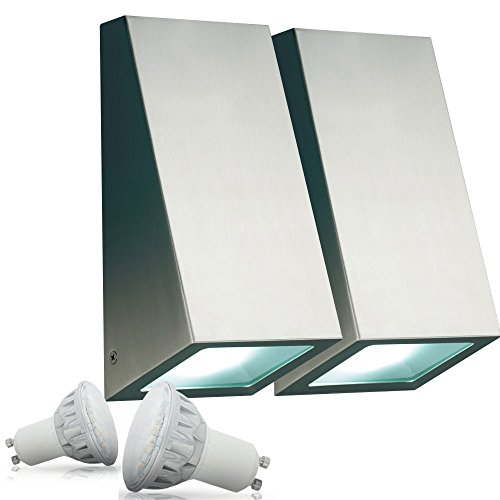 2er Set 5 Watt LED Edelstahl Wand Leuchte Außen Lampe Beleuchtung IP44