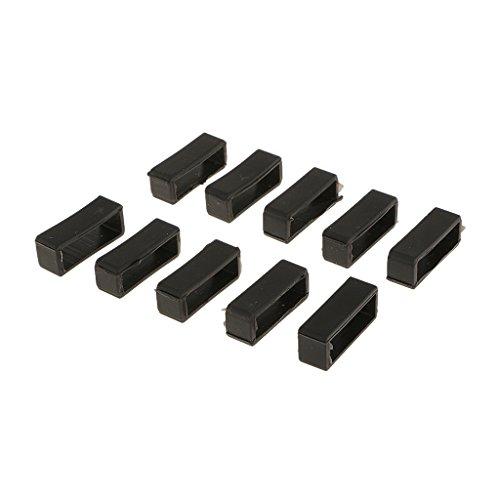 Sharplace 10 Stücke Schwarze Gummischlaufen Uhrenzubehör Schnallenhalter für Unisex Uhren - Schwarz, 22mm - 12mm Uhrenarmband Gummi