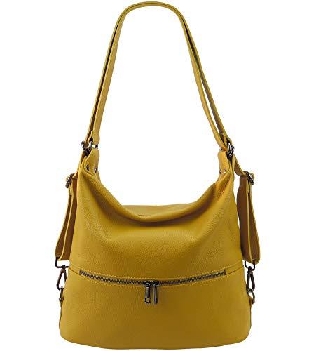 Freyday 2in1 Handtasche Rucksack Designer Luxus Henkeltasche aus 100% Echtleder (Senfgelb)