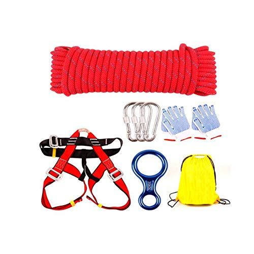 Aishanghuayi Kletterseil, 11 mm Stahldraht im Freien 10/30 m Klettersteig Brandschutzseil, rot (Color : Red, Size : 30m)