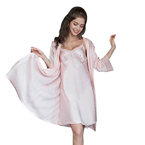 Berimaterry Damen Nachtwäsche Nachthemd V-Ausschnitt Negligee Chemise Pyjama Robe Zwei Stücke Sleepwear Set Trägerkleid Sling Nachtkleid Set - Spitze Cup Chemise