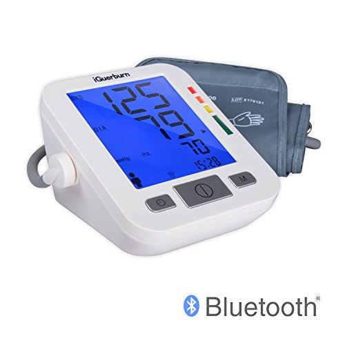 Erwachsene, Blutdruckmesser (iGuerburn Oberarm Bluetooth Blutdruckmessgerät Pulsmesser: Digitaler Blutdruckmesser mit App zur Verfolgung der Blutwerte - Vollautomatisches Medizingerät mit 12,7cm Display - Armumfang von 22-44cm)