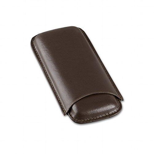 Zigarrenetui Leder braun für 2 Zigarren Länge 14,5 cm