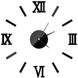 aifengxiandonglingbaihuo Interior Moderno de Bricolaje Reloj de Pared Romano Reloj de Pared Pegatina 3D Efecto de Espejo casero 4 Estilos Pegatinas de Pared 3D, Negro, China