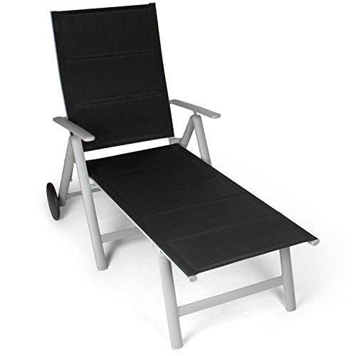 Vanage - Chaise longue avec Surface textile rembourée- Transat de Jardin avec 2 roulettes - Pliant et ultra compact - Structure en aluminium - Parfait pour le Jardin, la Terrasse et le Balcon - Ultra confortable et Design intemporel