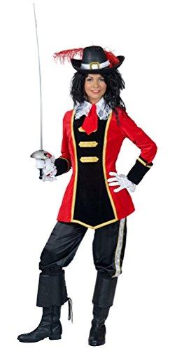 Karneval-Klamotten Musketier-Kostüm Damen Lady Musketier rot-schwarz-Gold Karneval Fasching Damenkostüm Größe 40/42