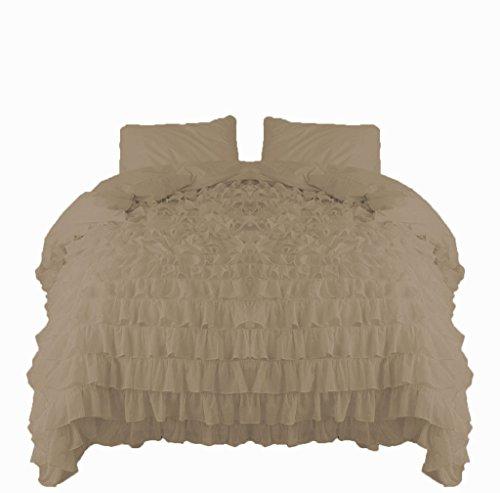 Wasserfall Ruffle SCALABEDDING Scala Bettwäsche Bettbezug & Kissen Shams 5-tlg 600 TC aus ägyptischer Baumwolle, Königin volle Länge, - Bettbezug Königin Taupe