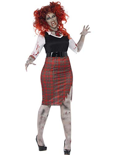 erdbeerclown - Damen Frauen Kostüm kurviges Schulmädchen Schülerin im Horror Zombie Look, Bloody School Girl, perfekt für Halloween Karneval und Fasching, XL, Rot (Girl Zombie School Halloween Look)