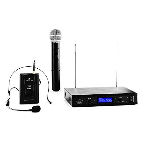 Malone VHF-400 Duo 3 • 2-Kanal VHF-Funkmikrofon Set • Funk-Mikrofon System • 1 x kabelloses Handmikrofon • 1 x kabelloses Headset Mikrofon • 50 m Reichweite • Rauschunterdrückung • schwarz