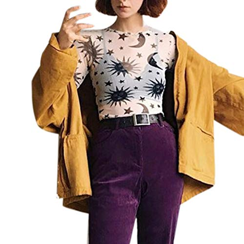 amen Mesh Lace Printed Langarm,Frauen Mode Sommer Lässige Kurze Sexy Bluse T-Shirt Tops Bluse Shirt Pullover Tunika ()