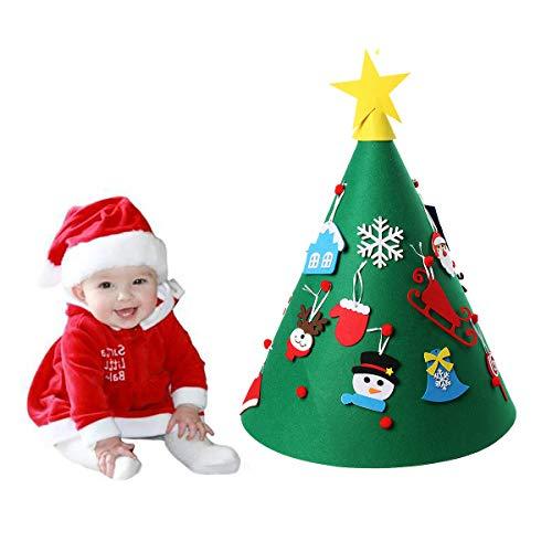 Cusfull Albero di Natale in Feltro DIY, Albero di Natale Rotondo e Tridimensionale con Vari Ornamenti Pendenti Staccabili, Giocattolo Educativo per Bambini, Decori Fatto a Mano di Capodanno