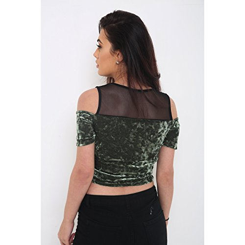 Ladies Velours concassée Cold Shoulder Mesh volanté Crop Top EUR Taille 36-42 Vert