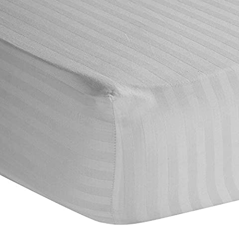 Homescapes 100% Egyptian Cotton Satin Stripe Fitted Sheet White Super King Size 330 Thread Count Percale Anti Dust Mite