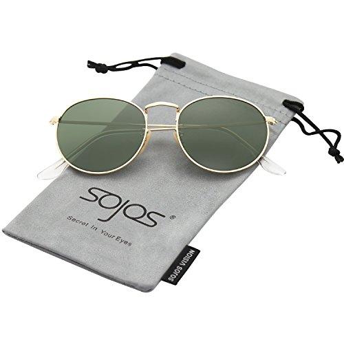 SOJOS Mode Rund Polarisiert Damen Herren Sonnenbrille Linsees Unisex Sunglasses SJ1014 mit Gold Rahmen/G15 Linse (Retro Vintage Snap)
