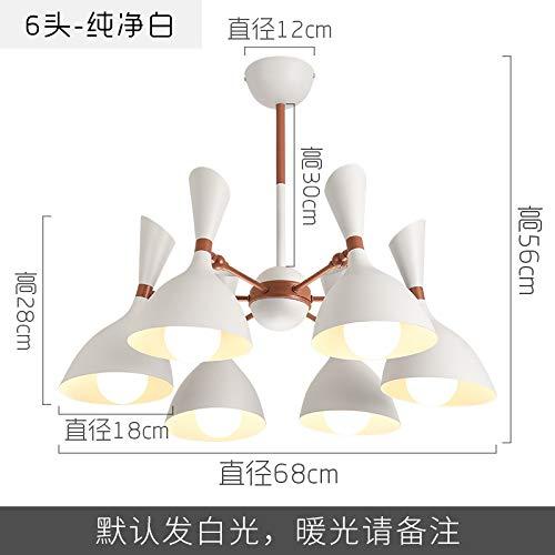 Restaurante nórdico, lámpara de araña moderna, moderna, de hierro forjado, seis luces blancas y blancas.
