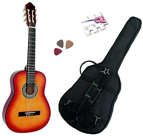 Pack Guitare Classique 3/4 (8-13ans) Pour Gaucher Avec 3 Accessoires (sunburst)