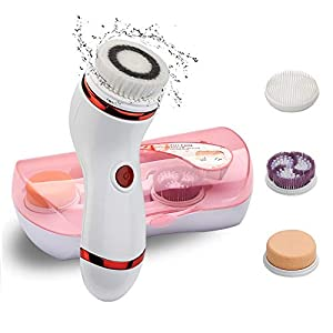 Cepillo Limpiador Facial, Impermeable Cepillo de Limpieza Brush y Masajeador Rojo