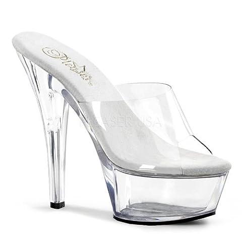 Pleaser Kiss 6 Inch Spike Heel Platform Shoe Clear 4